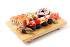 Japanese food. Sushi and rolls Royalty Free Stock Photo