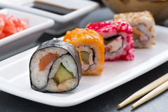 Japanese food - sushi and rolls, close-up Royalty Free Stock Images