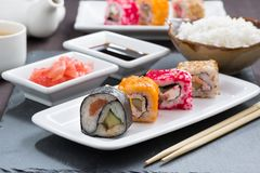 Japanese food - sushi and rolls Stock Photo
