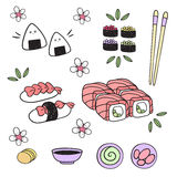 Japanese food: sushi, rolls, onigiri, appetizer, sauce. Elements. Japanese Set of sushi and rolls. The picture can be used for flyers, broschyur, menus, etc Stock Photography