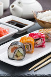 Japanese food - sushi and rolls, vertical Stock Image