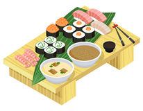 Japanese food. Sushi and rolls on wooden stand Royalty Free Stock Images