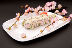 Japanese food - sushi and sakura. By Ekaterina in Photos  Food & Drink Royalty Free Stock Photography