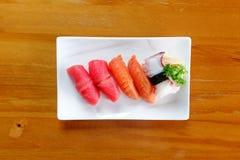 Japanese food - Sushi of salmon. & tuna sushi Royalty Free Stock Photos