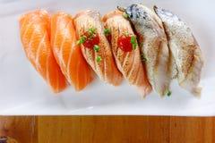 Japanese food - Sushi of salmon. & tuna sushi Royalty Free Stock Image