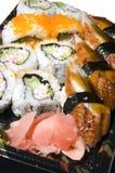 Japanese food sushi sashimi. Japanese food eel sushi sashimi california rolls lunch box with ginger Royalty Free Stock Photography
