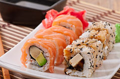 Japanese food - Sushi and Sashimi Royalty Free Stock Photos
