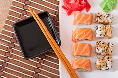 Japanese food - Sushi and Sashimi Royalty Free Stock Photo