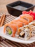 Japanese food - Sushi and Sashimi. On plate Stock Images