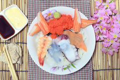 The japanese food sushi seafood and rice. Royalty Free Stock Photos