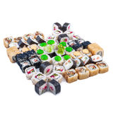 Japanese food. Sushi set of different rolls. Sushi set of different rolls on white table Stock Images