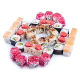 Japanese food. Sushi set of different rolls. Sushi set of different rolls on white table Royalty Free Stock Image