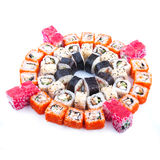 Japanese food. Sushi set of different rolls. Sushi set of different rolls on white table Royalty Free Stock Images