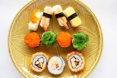 Japanese food, sushi set on plate Royalty Free Stock Photos