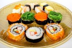 Japanese food, sushi set on plate Royalty Free Stock Image