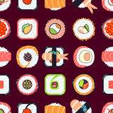 Japanese food sushi vector seamless pattern Royalty Free Stock Photography