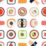 Japanese food sushi vector seamless pattern Royalty Free Stock Photo