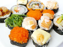 Japanese food. Sushi on white plate Stock Image