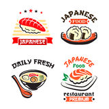 Japanese food symbol set for sushi bar design. Japanese food isolated symbol set. Sushi, seafood rice and noodle soup dishes with fish, shrimp and vegetable Stock Photography