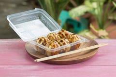 Japanese food Tako Yaki on Box Royalty Free Stock Image