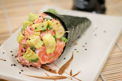 Japanese Food temaki Avocato. Japanese food, Japanese restaurant, oriental food Royalty Free Stock Image