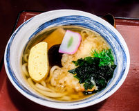 Japanese food, tempura udon with seaweed Stock Image