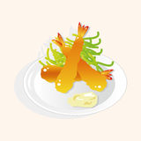 Japanese food theme Fried shrimp elements vector,eps Royalty Free Stock Photos