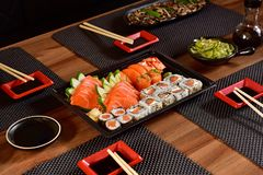 Japanese food to go. Mix of Japanese food on to go package stock photography