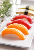 Japanese food tuna nigiri, salmon nigiri, and tamago nigiri sush Royalty Free Stock Photography
