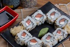 Japanese food uramaki. Japanese food background close diner Royalty Free Stock Image