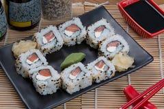 Japanese food uramaki. Japanese food background close diner Stock Photography