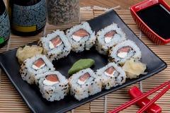 Japanese food uramaki. Japanese food background close diner Royalty Free Stock Images