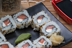 Japanese food uramaki. Japanese food background close diner Royalty Free Stock Photo