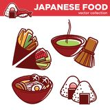 Japanese food vector collection of exotic Asian dishes. Isolated cartoon flat vector illustrations on white background. Huge vegetarian cone rolls, special Stock Photos