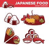 Japanese food vector collection of tasty exotic dishes. Mochi with strawberry, lobsters in butter, vegetarian cone rolls and sushi with fish and prawns Royalty Free Stock Photo