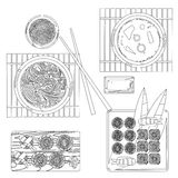Japanese food vector contour drawing in black and white Royalty Free Stock Images