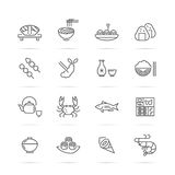 Japanese food vector line icons Stock Photography