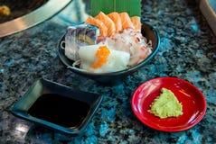 Japanese foods sashimi raw sliced fish, Japan of raw fresh fish fillet sashimi. Assorted Japanese sashimi stock photo