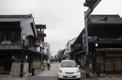 Japanese and foreigner walking and visit street and clay walled Royalty Free Stock Image