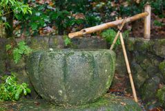 Japanese Fountain. A bamboo spout fills the stone bowl of this fountain in a Japanese garden Royalty Free Stock Image