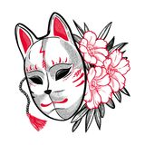 Japanese fox mask with flowers. Hand drawn beautiful artwork a mask with spring flowers. Magic, spirituality, occultism, tattoo art. Isolated vector illustration Royalty Free Stock Image