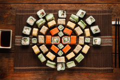 Japanese fresh rolls. Colorful sushi set, food art Stock Image