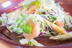 Japanese Fresh Salmon Salad on wooden background Stock Images
