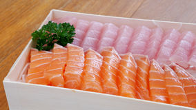 Japanese fresh sashimi (salmon and fatty tuna) Royalty Free Stock Photography
