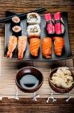 Japanese fresh sushi set. Fresh and tasty Japanese sushi set Royalty Free Stock Photos