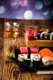 Japanese fresh sushi set. Fresh and tasty Japanese sushi set Royalty Free Stock Images