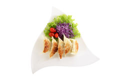 Japanese fried dumplings (Gyodza) on plate Stock Images