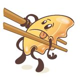 Japanese fried dumplings Gyoza. Inside sticks. On white background. Vector vector illustration