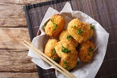 Japanese fried hot potato korokke or croquettes in breading clos Royalty Free Stock Photo