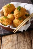 Japanese fried hot potato korokke or croquettes in breading clos Stock Photo